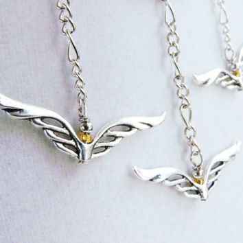 Seagulls In The Sunset Silver Wings Necklace by ViperCoraraDesigns