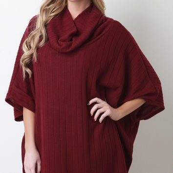 Cowl Neck Ribbed Fleece Poncho Top