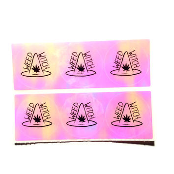 WEED WITCH Pink Hologram Mini Stickers