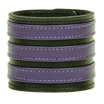 "Triple Purple on Black Strip Leather Wristband Bracelet Cuff 2-3/4"" Wide"