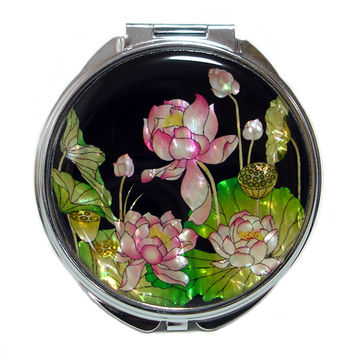 Mother of Pearl Pink Lotus Flower 2x Magnification Double Compact Cosmetic Makeup Vanity Folding Purse Beauty Pocket Hand Mirror