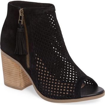 Sole Society Dallas Peforated Peep Toe Bootie (Women) | Nordstrom