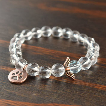 Animal Lovers Bracelet. Crystal Quartz Bracelet. Paw Print Bracelet. Angel Wings Bracelet. Women's Beaded Bracelet. Lotus and Lava Bracelet.