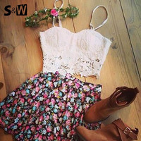 2015 New White Appliques Casual Crop Top And Skirt Set Off 2 piece set women Sexy V-Neck Strap Mini Print Skirts = 1667683844