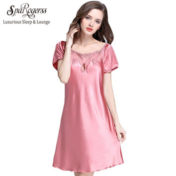 SpaRogerss Silky Women Nightgowns Summer Faux Silk Ladies Sleep Lounge For Home Suit 2017 Female Satin Dressing Gown Woman SQ022