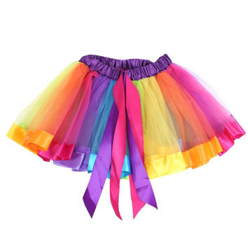 Kids Girl Rainbow Tutu Ballet Dance Skirts Party Tulle Skirt Costume SM6