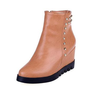 ankle boots zip rivets wedge chunky platform