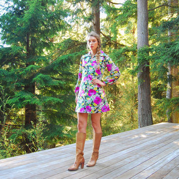 Vintage 60s Mod Dress, Long Sleeve Floral Mini Dress, Purple Pink Poppy Poet Sleeve Psychedelic Hippie Dress, A Line 1960s Babydoll Dress