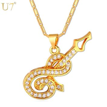 U7 Luxury Guitar Pendant Necklace Women Musical Jewelry New Trendy Gold/Silver Color Zirconia Music Necklace P675