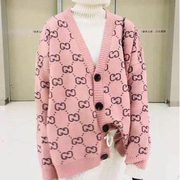 GUCCI 2018 spring new V-neck double G knit cardigan sweater coat F0462-1 Pink