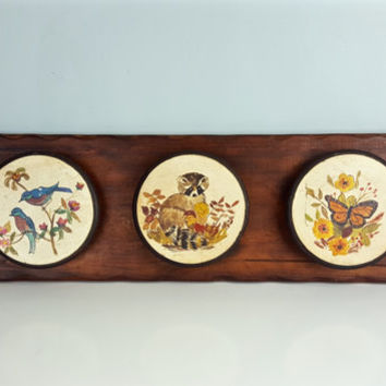 Vintage Hand Painted Woodland Animals Wall Hanging Carved Wooden Wall Hanging Cute Woodland Creatures Painting Nursery Decor Birds Butterfly