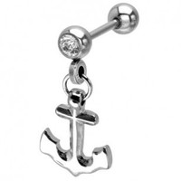 316L Surgical Steel Lock Anchor Cartilage Earrings - Barbell - 18g - 5/16'' - Sold Individually