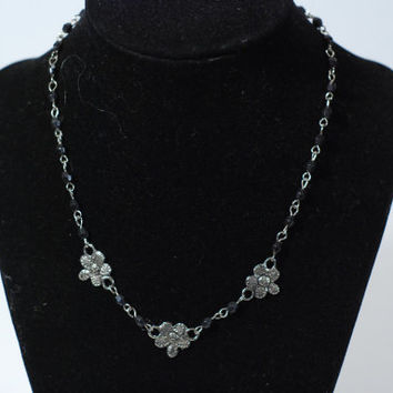 FINAL DISCOUNT Beaded Chain Flower Choker 90s Black and Silver Floral Charm Necklace