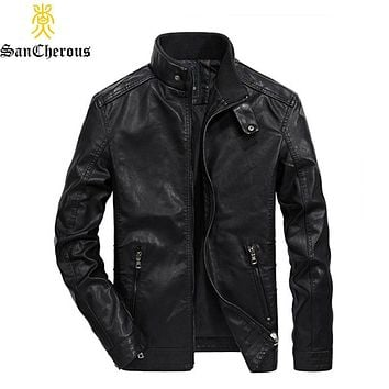 New Arrival Men Autumn Leather Jacket  High Quality Fashion Motorcycle Style Male Business Casual Coat Cowboy Jacket