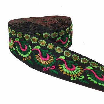 "ZERZEEMOOY 2"" 5cm 8yard/lot High quality Woven Jacquard Ribbon black background Colourful flowers pattern"
