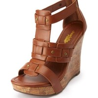 STUDDED PLATFORM GLADIATOR WEDGES