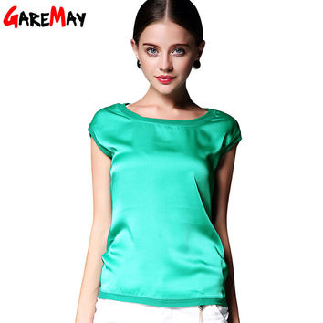 Summer women blouses 2016 new casual chiffon silk blouse slim sleeveless O-neck blusa feminina tops shirts solid 6 color  Y048