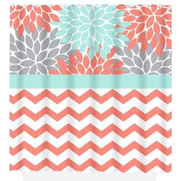 Coral Aqua Gray SHOWER CURTAIN, Flower Bathroom, Chevron Custom MONOGRAM Personalized, Bathroom Decor, Bath Towel, Plush Bath Mat
