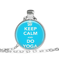 Yoga Necklace Keep Calm Quote Print Jewelry, Yoga practice jewelry gift for instructor, Do Yoga Pendant, Keep Calm and Yoga On Quote Jewelry