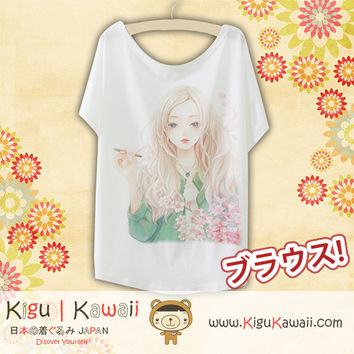 New Pretty Portrait Fashionable Loose and High Quality Spring and Summer Tshirt Free Size KK547