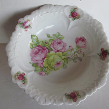 Roses Lily of the Valley Antique Victorian Rose Bowl  German Roses Germany China Porcelain Bowl Germany Rose Bowl