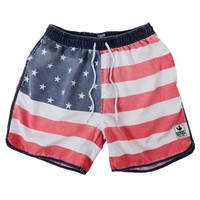 Rowdy Gentleman Faded American Flag Baggy Swim Trunks for Men in Americana SS012-AMFLG