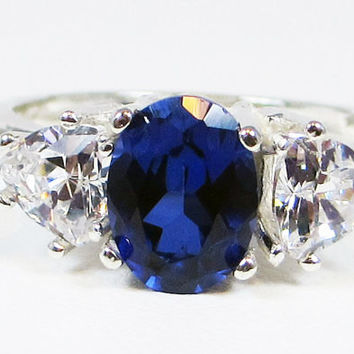 Blue Sapphire Oval and CZ Ring Sterling Silver, September Birthstone Ring, Blue Sapphire Oval Ring, Sterling Sapphire Ring, Three Stone Ring