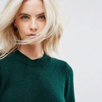 ASOS PETITE Chunky Jumper With Deep Cuff In Fluffy Yarn at asos.com