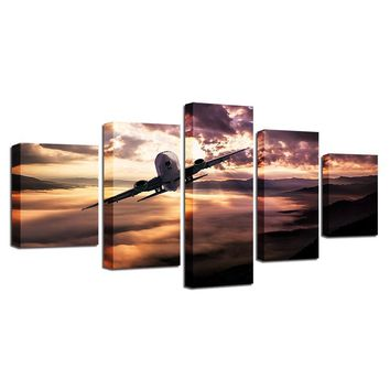 5 Pieces Aircraft Jet at  Sunset Scenery Paintings Modular Pictures Wall Art