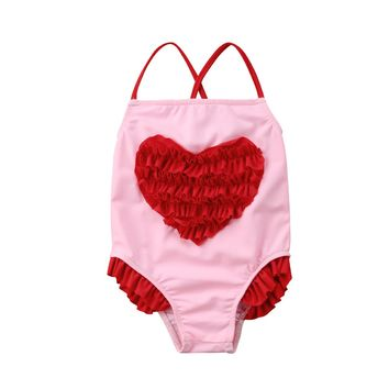Toddler Kids Baby Girls 3D Heart Swimwear Swimsuit Bathing Suit Summer Sleeveless Beach Cute Clothes