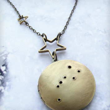 Brass Big Dipper Locket Necklace