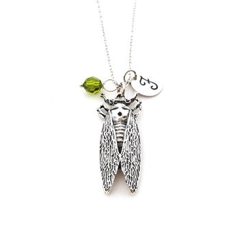 Cicada Insect Silver Personalized Necklace