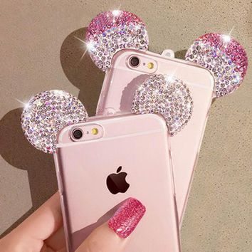 For iPhone 7 7 Plus Bling 3D DIY Mickey Mouse Ears Case Glitter Rhinestone Diamond Phone Shell Cover For iPhone 7Plus