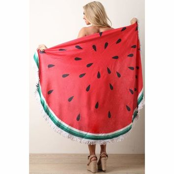 Watermelon Fringe Circular Cover Up Blanket