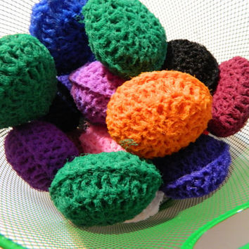 Hot Pink Cleaning Scrubbie, fuchsia Crochet pot scrubber for pots pans dishes counters and so much more, Made of Nylon net, nonstick safe