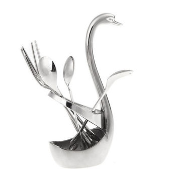 Swan-shaped Stainless Steel Dessert Tableware Set Spoon Fork Delicate Stylish cooking tools aparelho de jantar 6pcs = 1696887428
