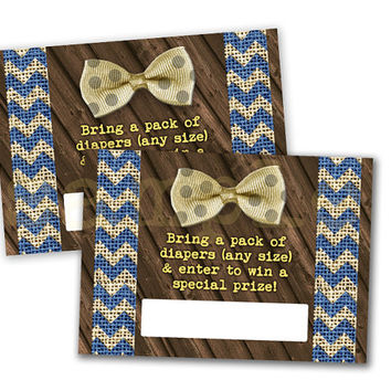 Bowtie Baby Shower Diaper Raffle Tickets - Printable DIY Diaper Raffle Ticket - Navy Gold Burlap - Rustic Vintage Country Shower Ideas