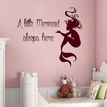 Wall Decals Vinyl Decal Sticker Words Quote a Little Mermaid Sleeps Here Water Nymph Girl Room Bedding Bathroom Decor Kg843