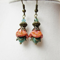 Coral Flowers & Teal Czech Glass Beaded Bronze Boho Chic Earrings