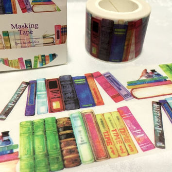 Bookshelf washi Masking tape 10M x 3cm colorful books deco masking tape Reading planner sticker Reading Library books  scrapbook diary gift