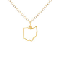 Tiny Ohio Outline Necklace