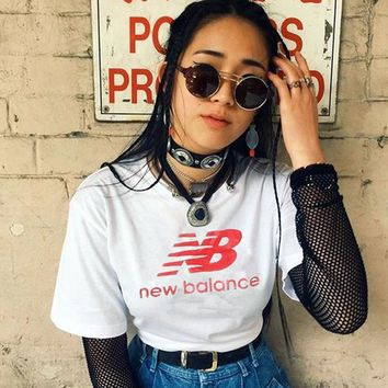 new balance fashion hot leisure t shirt top white