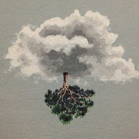 Whimsical Cloud Painting With Tree, Limited Edition Small Print of Acrylic & Pen Original - Surreal Art, Unusual, Dreamlike, Unique Painting