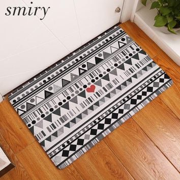 Autumn Fall welcome door mat doormat Smiry waterproof hallway wrinkle resistant s black wahite indian geometric heart pattern rug durable bedroom foot pads AT_76_7
