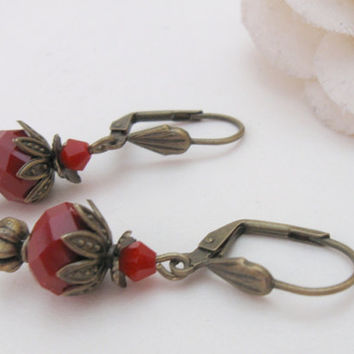 Blood drops - brass earrings with opaque red beads