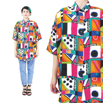 80s Abstract Print Silk Shirt Silk Short Sleeve Blouse Polka Dot Print Unisex Button Down Slouchy Colorful Pop Art Womens Silk Shirt (L/XL)