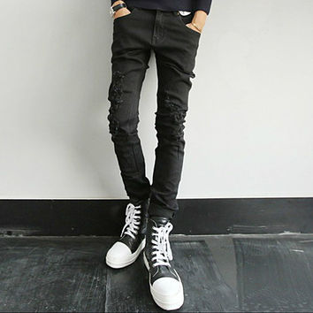 Skinny Fit Men's Black Denim Jeans