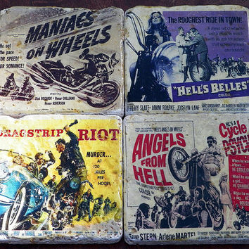 Retro cool, B Movie Biker posters.  Handmade Coasters, Set of 4, Travertine Tile