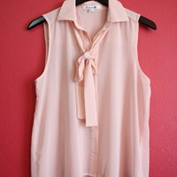 Light Pink Sheer Tie Button Up from Cutesy Closet