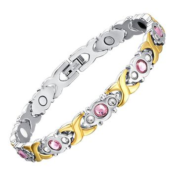 LITTLE FROG Drop-Ship Crystal Gem Bracelet Magnetic Health 4 IN 1 Bio Elements Energy Bracelets Fashion Jewelry for Women Lady